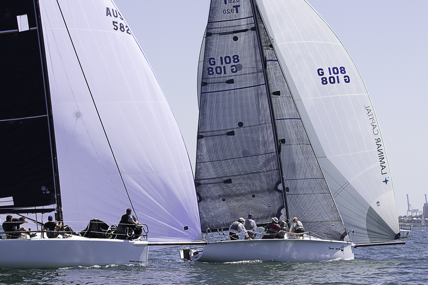 The Geelong based Poco Loco had some great battles with the two Melges 32's in the fleet to claim three AMS wins from three starts. Photo Bernie Kaaks.