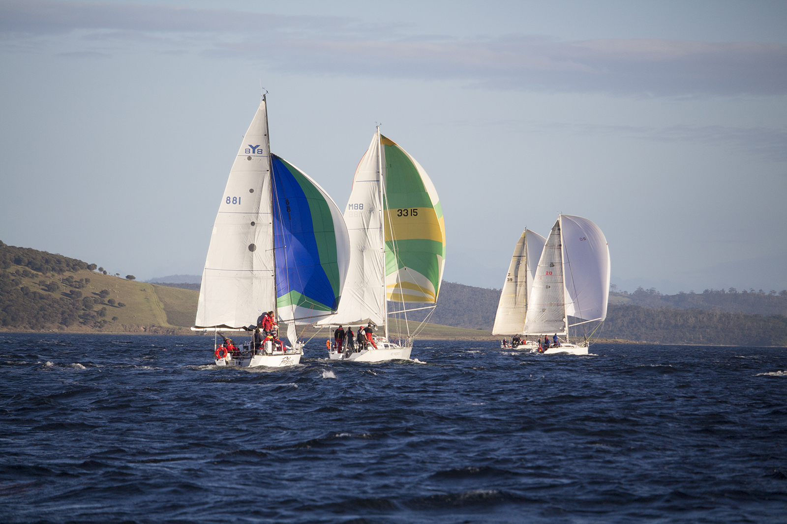 Smaller yachts at the start of the Maria Island race on Friday evening.  Photo Penny Conacher.