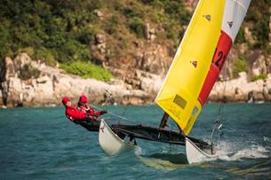 Multihull in Hong Kong Round the Island Race 2016. Credit RHKYC / Isaac Lawrence.