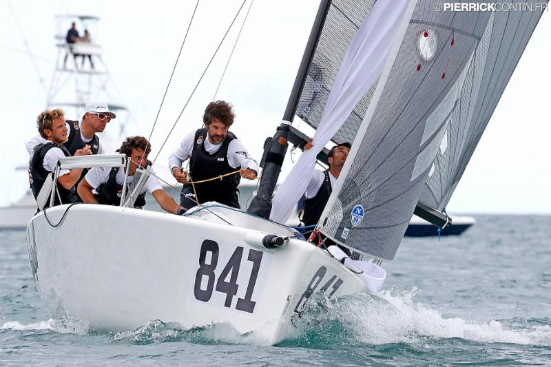 Andrea Pozzi's Bombarda ITA841 got their first bullet at the 2016 Melges 24 Wolrd Championship today. Photo Pierrick Contin.