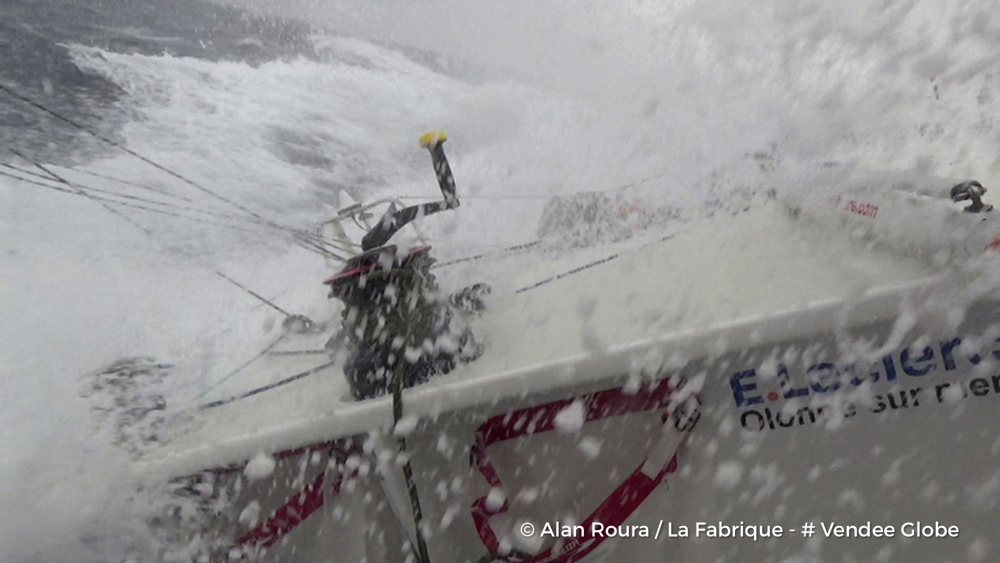 On board during the Vendee Globe. Photo Alan Roura.
