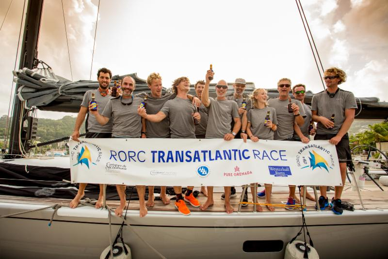 Three cheers and a warm welcome dockside for Aragon who finished the RORC Transatlantic race in Port Louis. After IRC time correction
