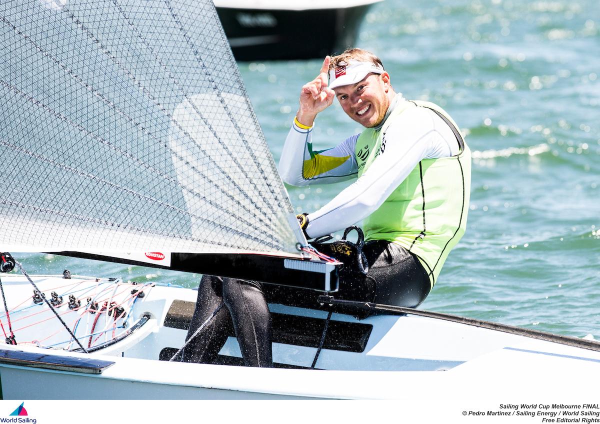Finn gold medallist Jake Lilley. Photo Sailing Energy/World Sailing.
