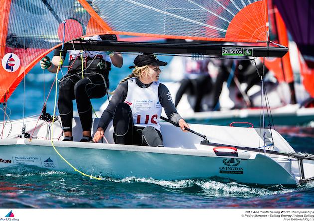 Natasha Bryant and Annie Wilmot lead in the 29er Girls at Youth Worlds. Photo Pedro Martinez/World Sailing.