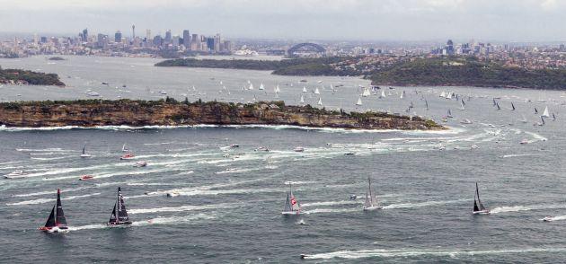 Fleet after start of 2015 Rolex Sydney Hobart - credit ROLEX