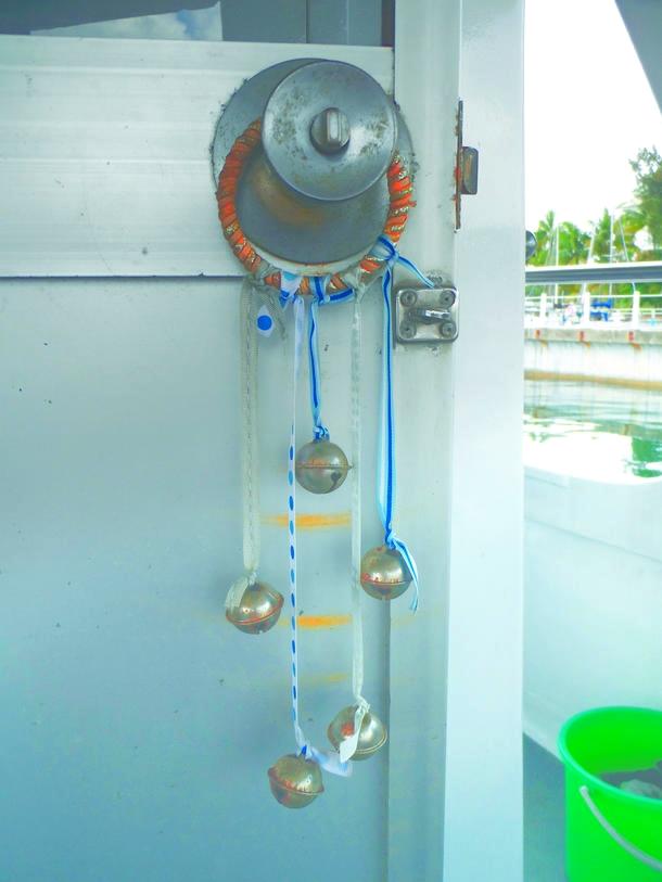 Hanging bells from the inside of the cabin door.