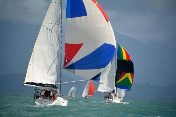 Spinnaker work in perfect conditions at Port Douglas Race Week. Photo Roger McMillan.