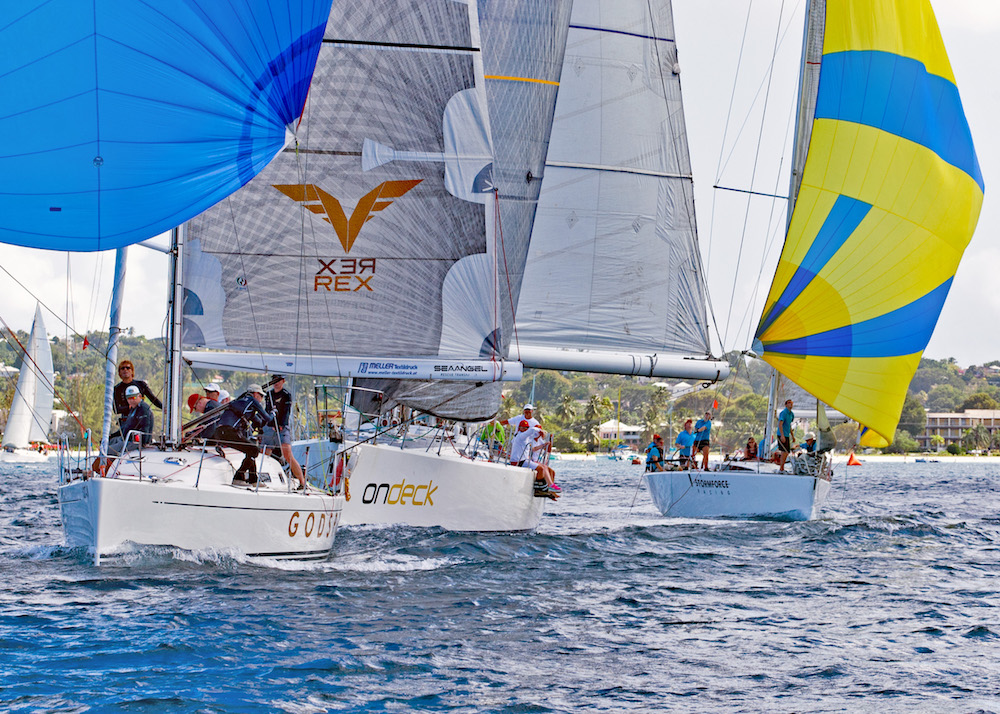 The Austrian team on Godspeed lead the pack in CSA Racing soon after the start. Mount Gay Round Barbados Coastal Series. Photo Peter Marshall/MGRBR.