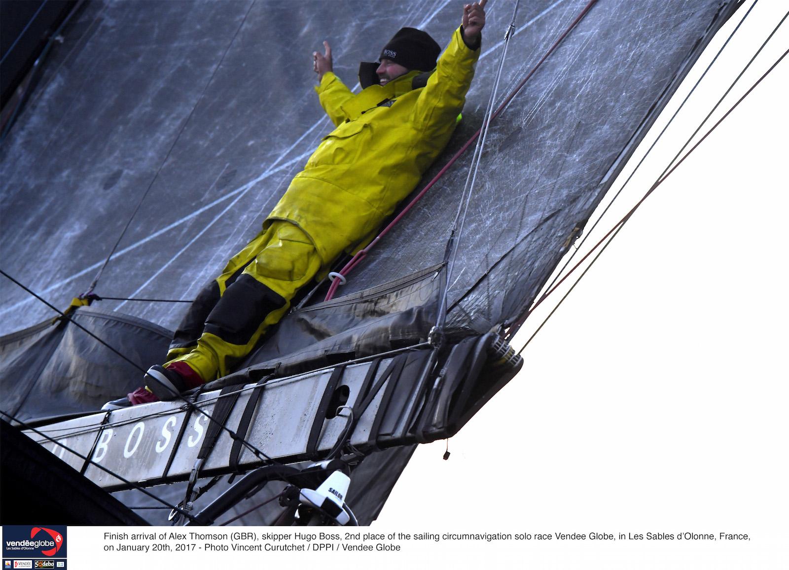 Alex Thomson at the finish of the Vendee Globe. Photo Vincent Curutchet/DPPI/Vendee Globe