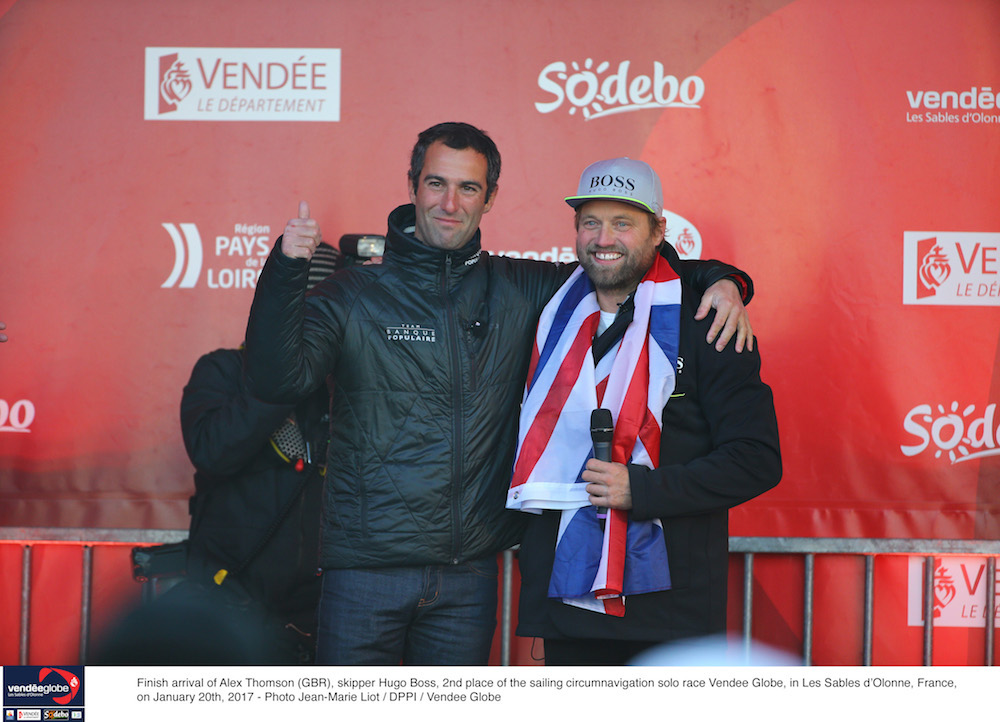 Armel Le Cléac'h and Alex Thomson after finishing the Vendee Globe. Photo Jean-Marie Liot/DPPI/Vendee Globe.