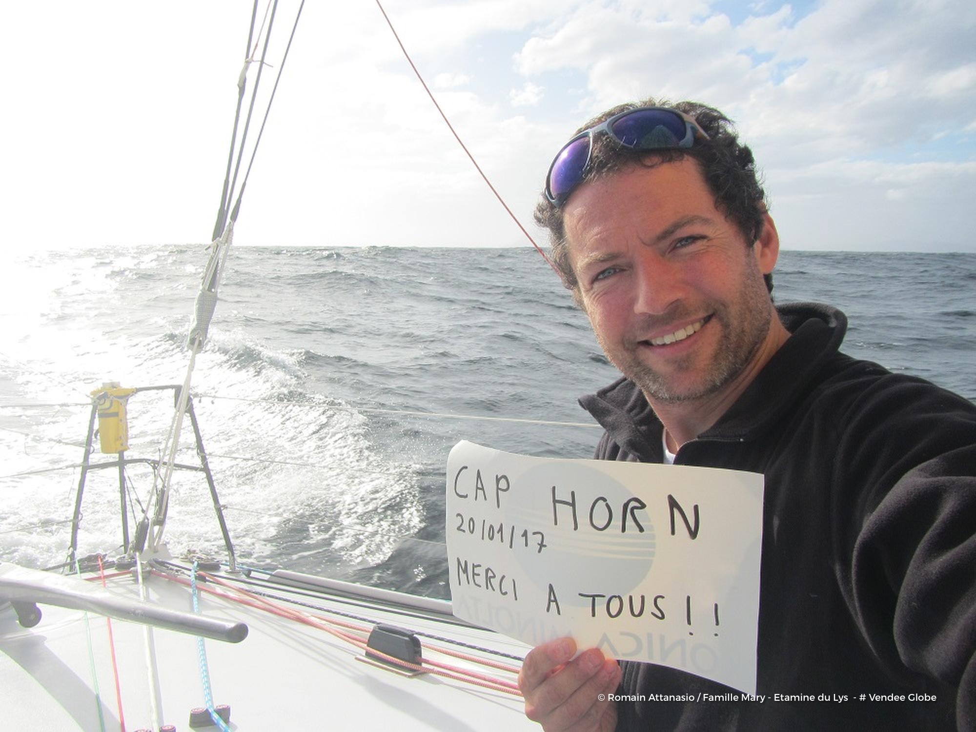 Romain Attanasio is the latest skipper to round Cape Horn. Photo Romain Attanasio.