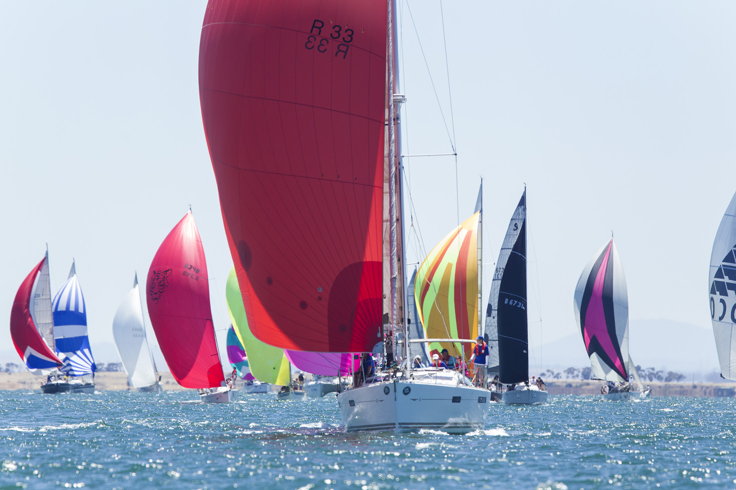 Spinnakers on out Corio Bay FOS 2017. Credit Steb Fisher.j