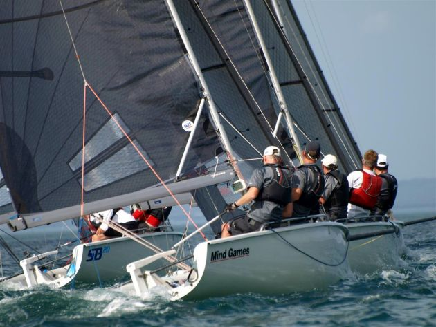 SB20 racing on the River Derwent. Photo Peter Campbell.