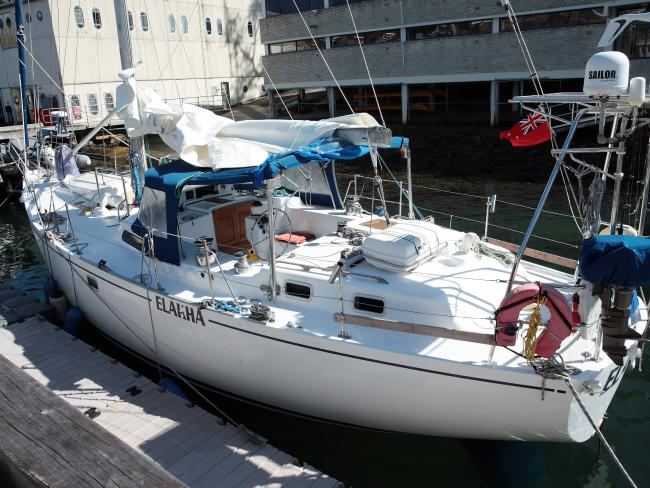 The yacht Elakha was intercepted off the NSW coast on Thursday with 1.4 tonnes of cocaine allegedly found on-board. Picture: John Fotiadis/Daily Telegraph.