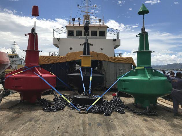 Buoys loaded and ready for installation. Photo AMSA.
