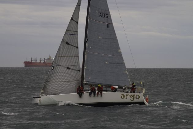 Argo heads out to sea on her way to an overall win in the IRC division. Fresh south easterly winds reaching 40 knots tested all crews and resulted in a lost rig for Anthony Kirke's Enterprise. Photo credit – Bernie Kaaks