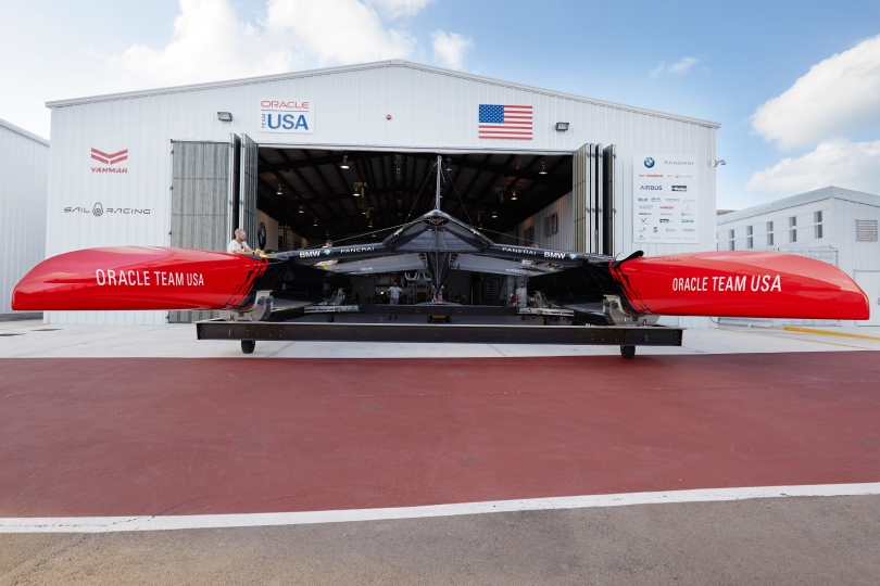 """Oracle's America's Cup Class catamaran """"17"""" at the launch. Photo Oracle Team USA."""