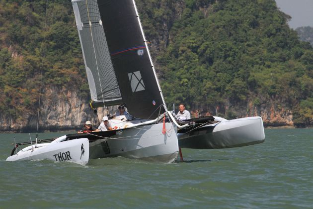 Thor claimed the daily double in Multihull Racing on Day 1 of The Bay Regatta 2017. Photo by Scott Murray.