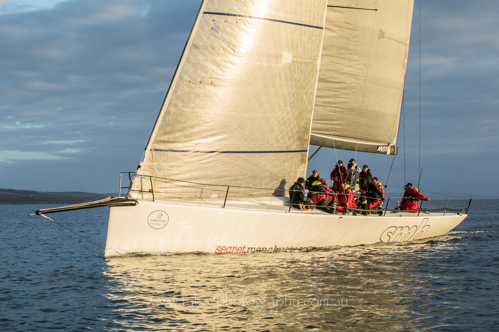 Secret Men's Business takes line honours in the Adelaide to Port Lincoln Race. Photo Take 2 Photography.
