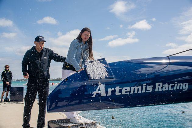 "Torbjörn and Natalia Törnqvist at the christening of ""Magic Blue"". Photo Artemis Racing."
