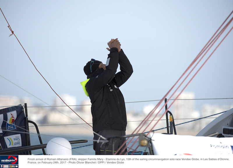 Romain Attanasio takes fifteenth place in the Vendee Globe. Photo Olivier Bianchet/DPPI/Vendee Globe.