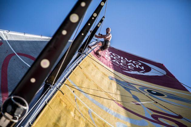 Volvo mast. Photo Matt Knighton/Abu Dhabi Ocean Racing/Volvo Ocean Race.