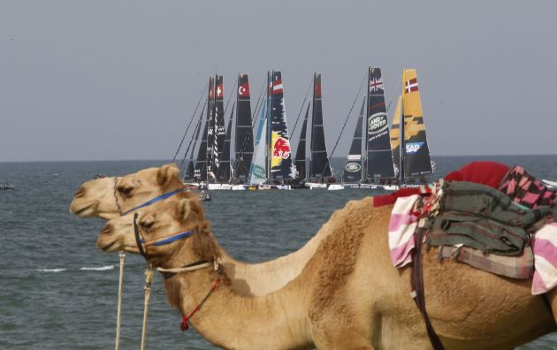 The fleet of GC32s take to the stadium for the first time on day two of racing in Muscat