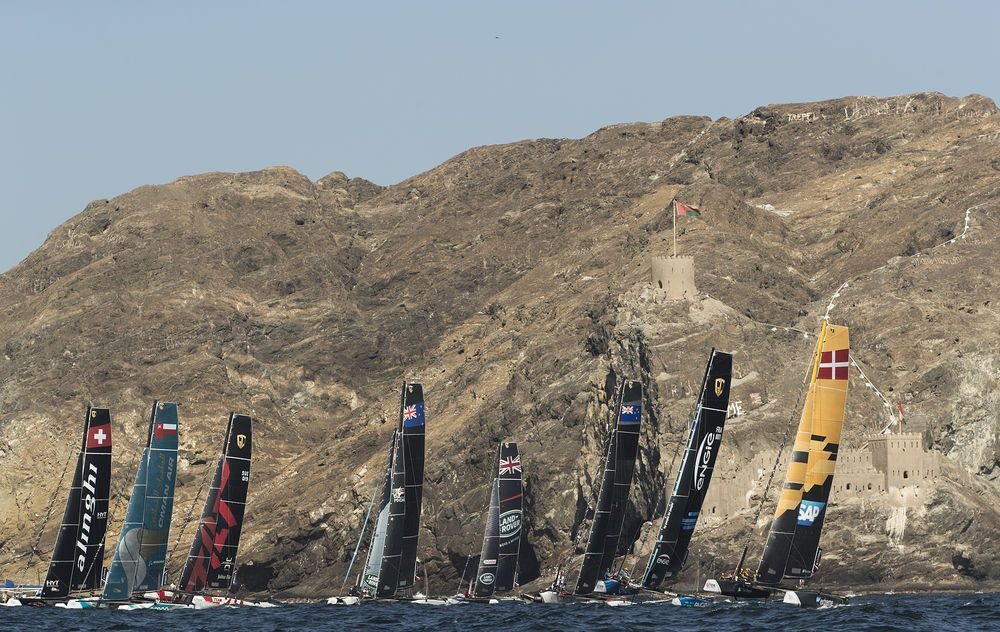 The GC32 fleet raced in front of Muscat's Old Town