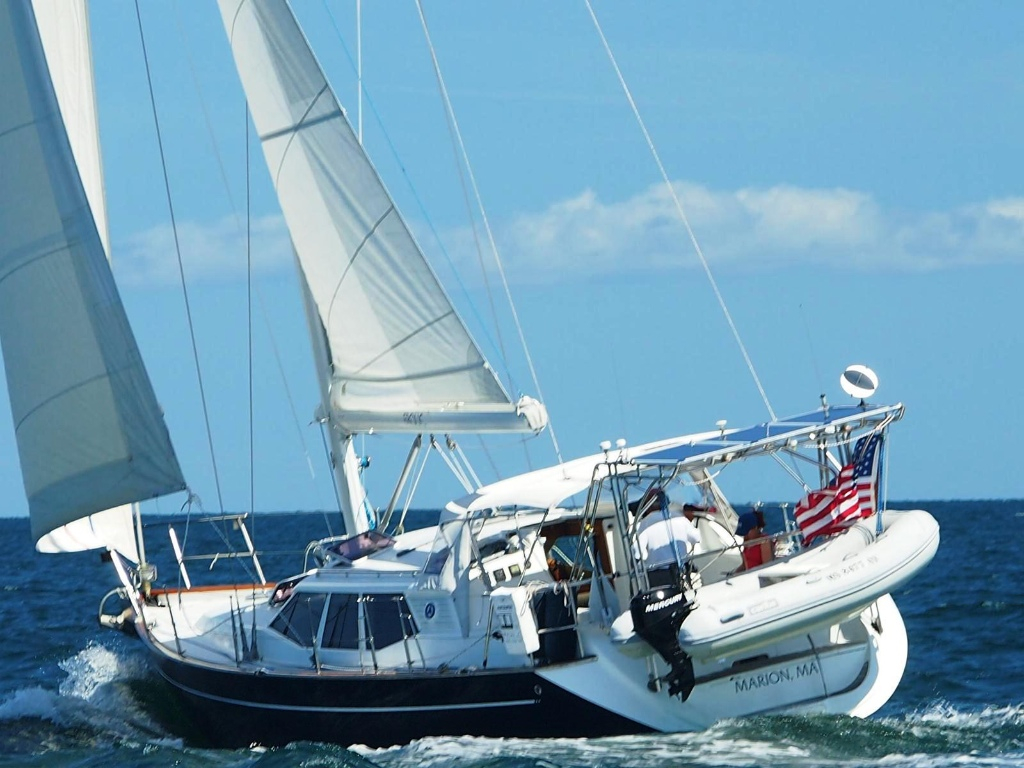 """Ray Cullum's Bill Dixon designed 44' sloop """"Frolic"""" will sail as a Celestial classification entry in the 2017 Marion Bermuda Race. Photo by Brian Gaudet."""