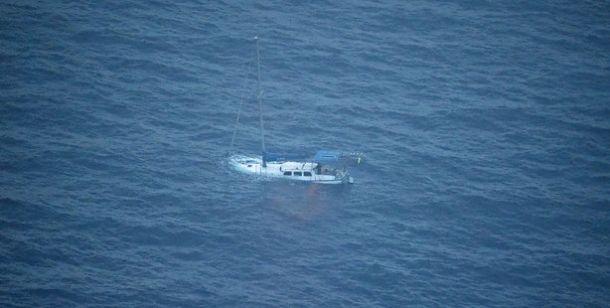 The stricken yacht. Photo / RNZAF.