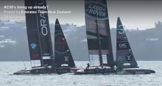 Screenshot of Oracle Team USA and Ben Ainslie Racing two-boat testing in Bermuda.