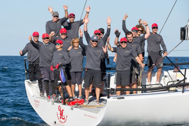 The crew of Beau Geste celebrates its win in the Australian Yachting Championships. Photo Andrea Francolini.