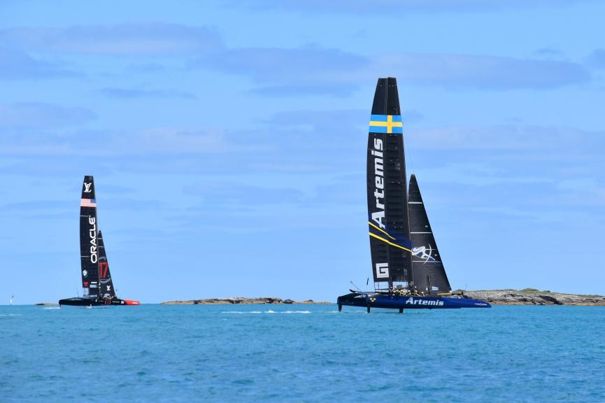Artemis and Oracle in practice racing at Bermuda. Photo Artemis Racing.
