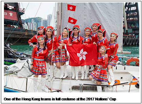 One of the Hong Kong teams in national costume at the Nations Cup 2017. Photo RHKYC/Guy Nowell.