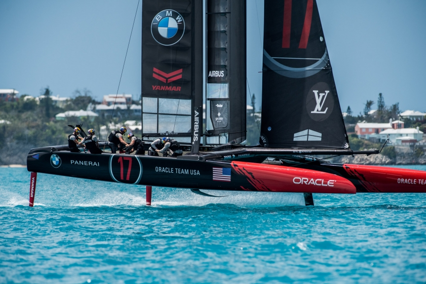 Oracle Team USA during practice racing. Photo ACEA.