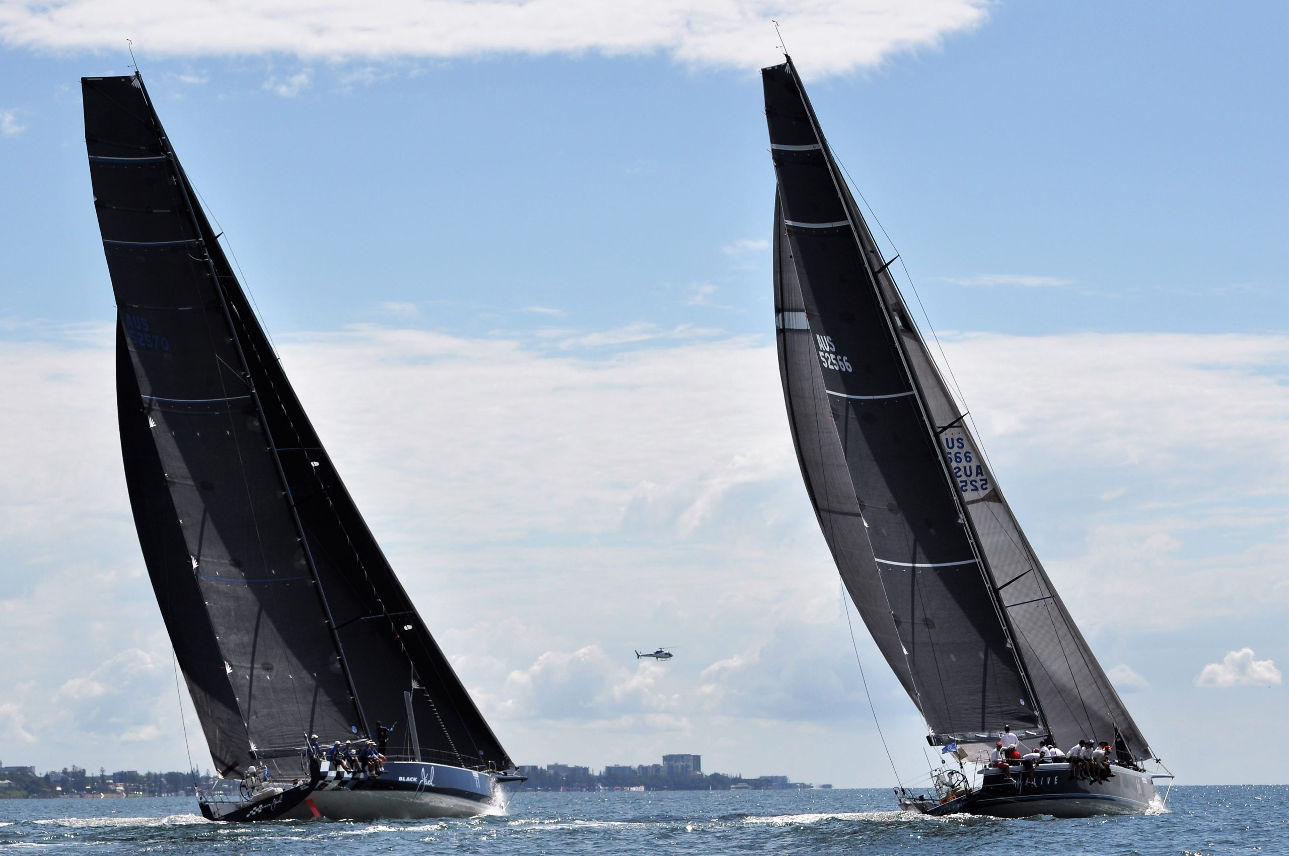 Black Jack and Alive at the start of the Brisbane to Gladstone Race. Photo Race Media.