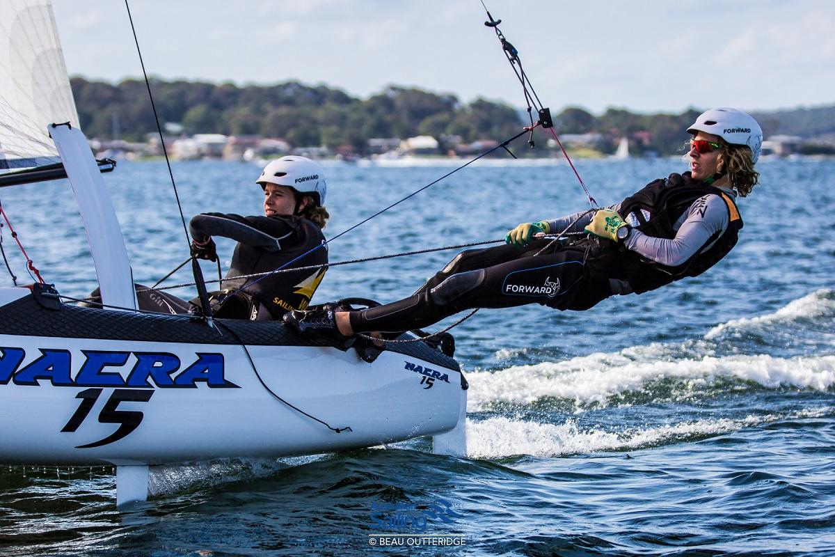 Western Australians Shannon and Jayden Dalton win the Aus Youth Nacra 15 Championship CREDIT Australian Sailing Beau Outteridge.