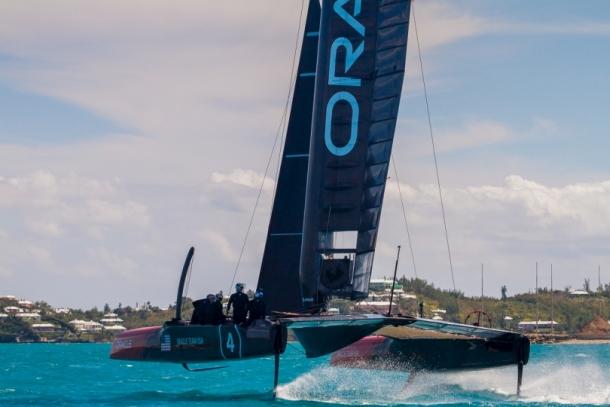 Oracle Team USA flies around Bermuda. Photo Oracle Team USA.