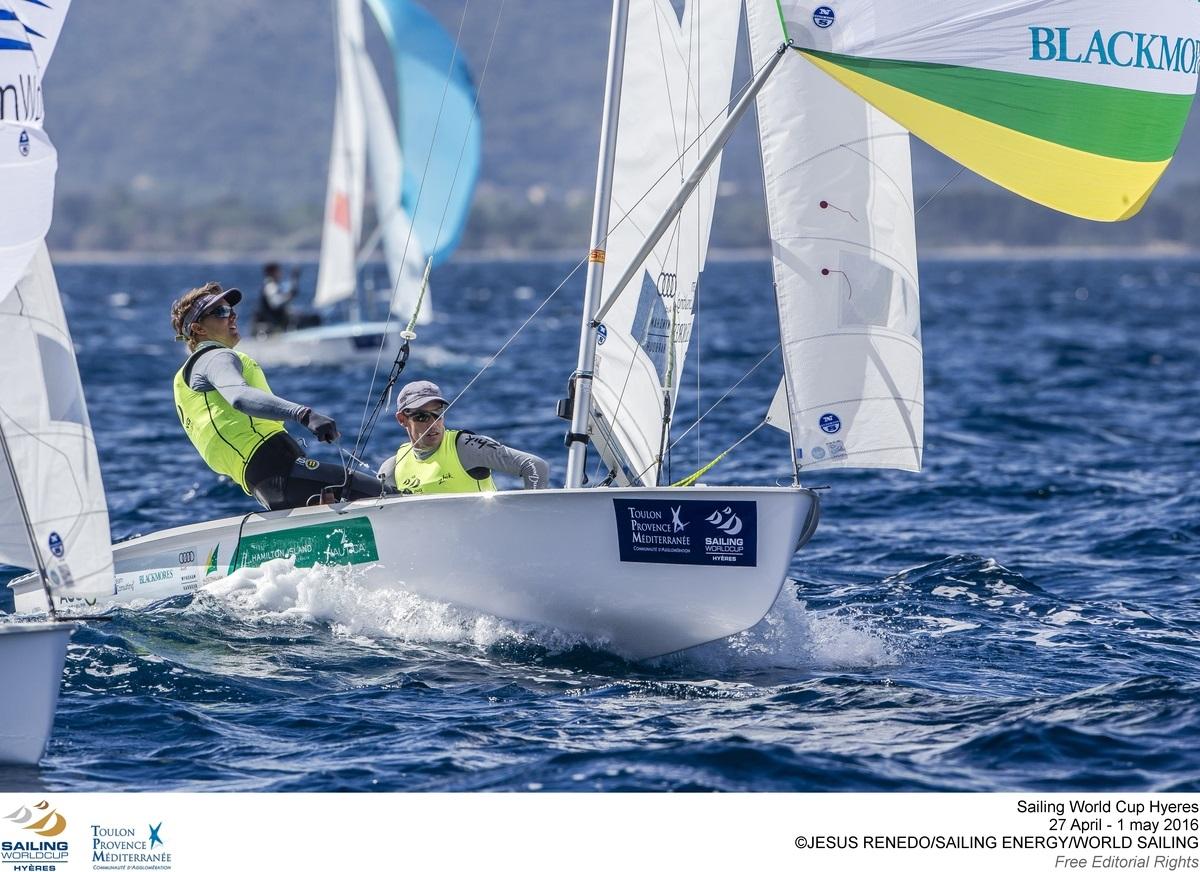 Mat Belcher and Will Ryan at Sailing World Cup Hyeres 2016. Credit Sailing Energy World Sailing.