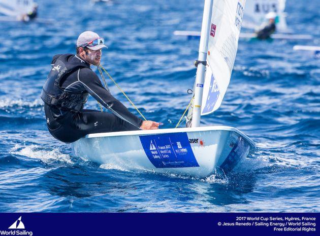 Pavlos Kontides in the Laser. Photo Jesus Renedo/Sailing Energy/World Sailing.