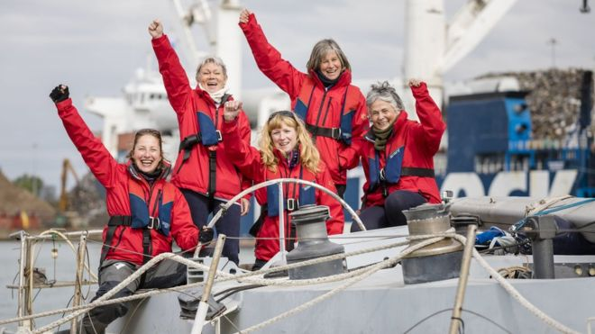 Tracy Edwards MBE and crew reunited with Maiden 27 years after completing the Whitbread Round The World Race in 1989/90 . Photo BBC.