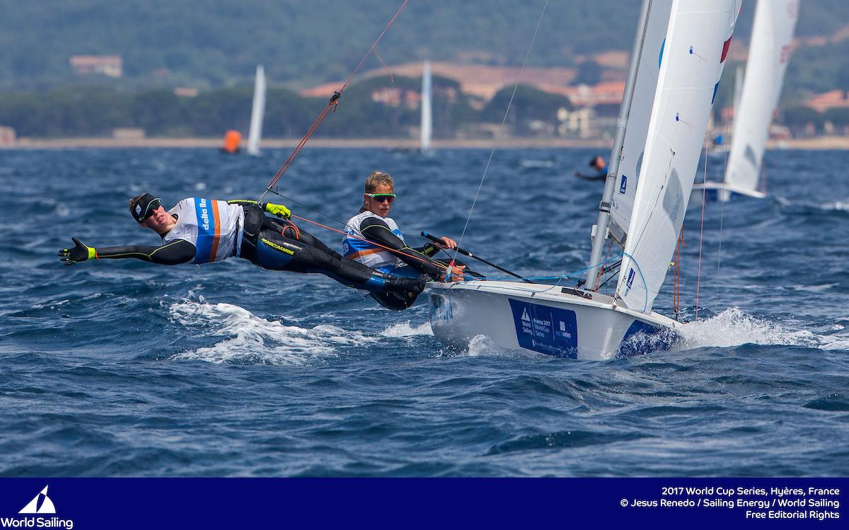 Zegers and Van Veen in the 470. Photo Jesus Renedo/Sailing Energy/World Sailing.