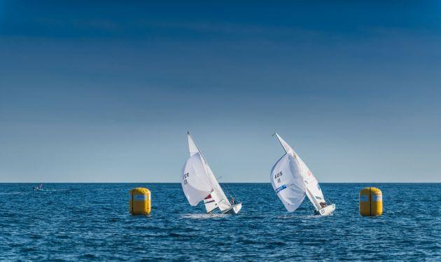 Mathew Belcher/Will Ryan (AUS-11) and Diogo Costa/Pedro Costa (POR-21. Photo Yacht Club de Monaco.