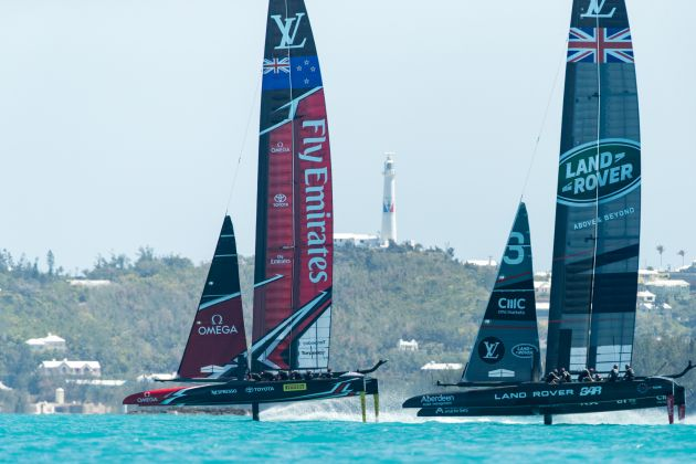 The two boats just before the collision. Photo Hamish Hooper/ETNZ.