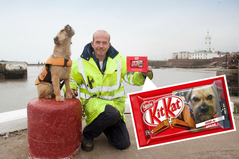 Jake and Carl with special KitKat (Photo: Paul Reid)