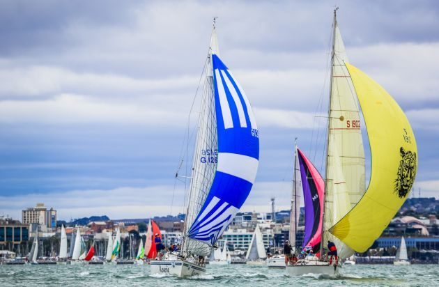 The cruising fleet off Geelong. Photo Saltwater Images.