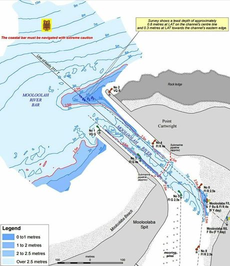 The warning to mariners issued for the Mooloolah River mouth. Source: Maritime Safety Queensland