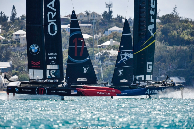 Oracle and Artemis in pre-start. Photo Ricardo Pinto/Oracle Team USA
