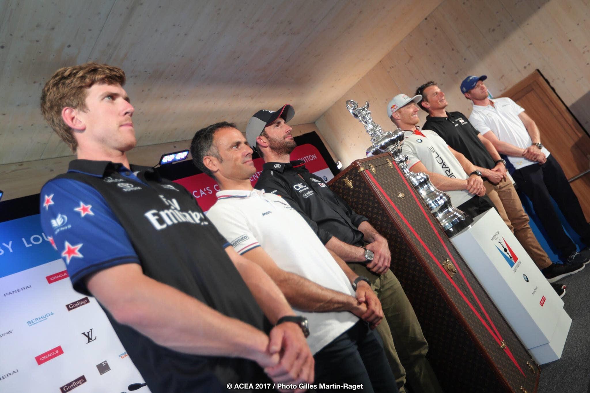 Five America's Cup helmsmen. Five blokes. Photo Gilles Martin-Raget/ACEA.