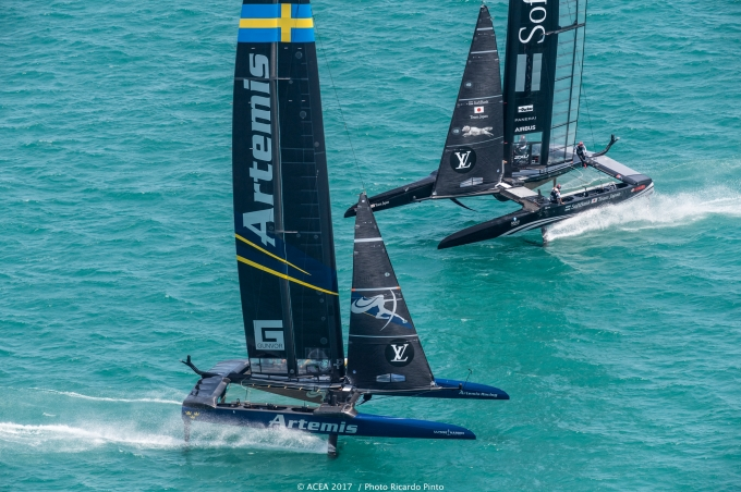 Artemis and Team Japan in pre-start. Photo Ricardo Pinto/ACEA.